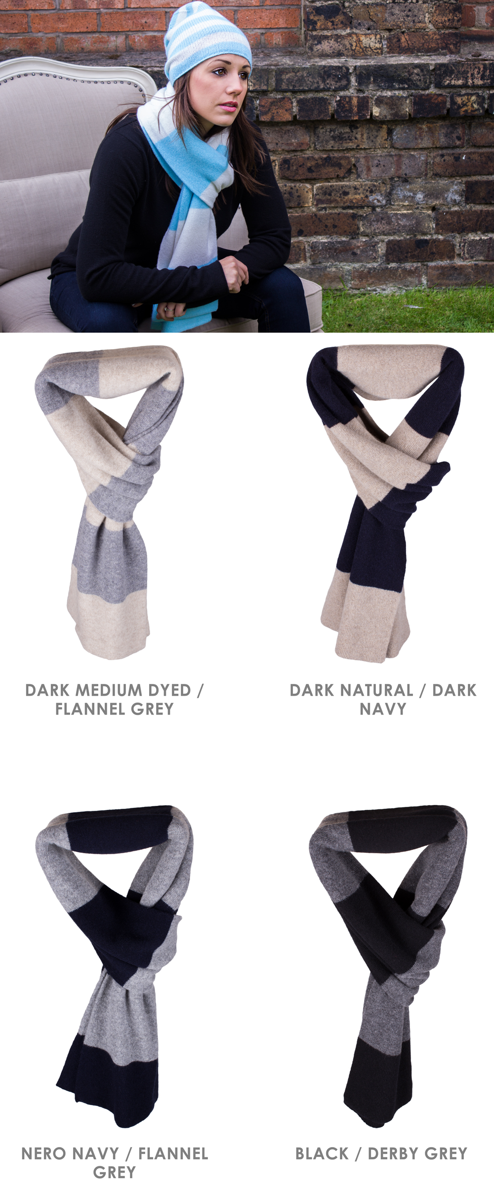 Rugby Stripe Cashmere Scarf