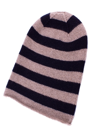 Striped Cashmere Beanie Hat