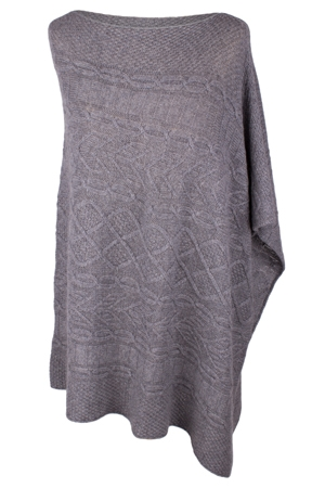Ladies Arran Cable Cashmere Poncho